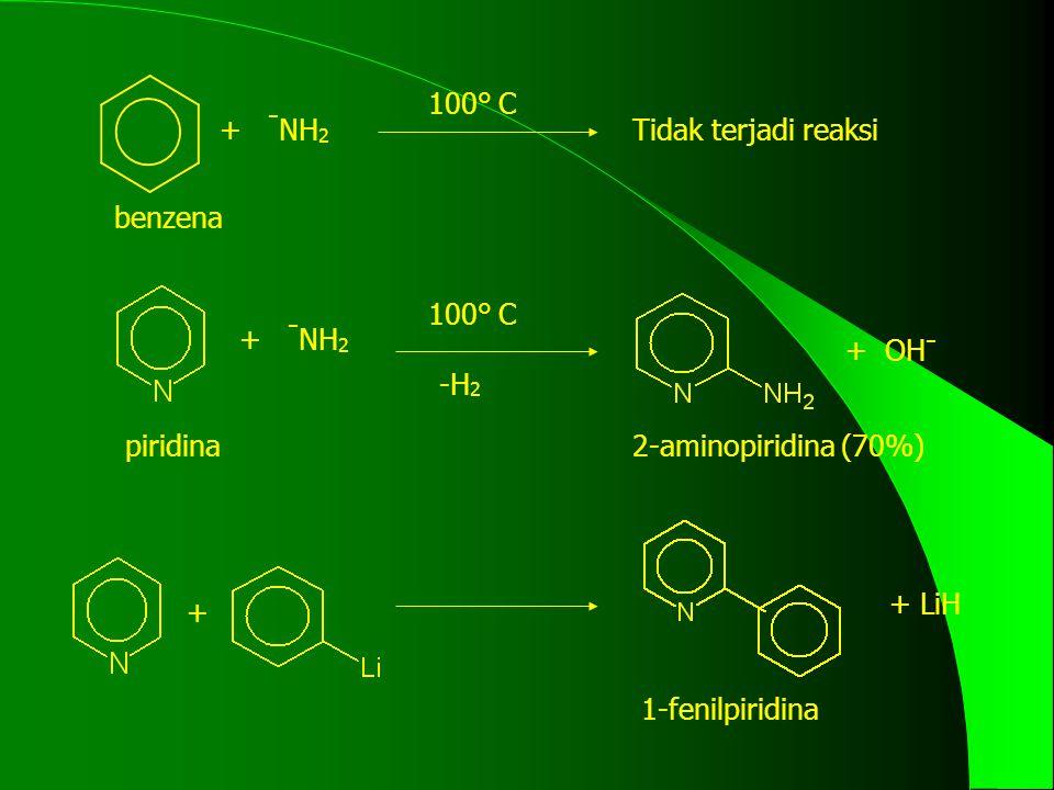 100° C + -NH2. Tidak terjadi reaksi. benzena. 100° C. + -NH2. + OH- -H2. piridina. 2-aminopiridina (70%)