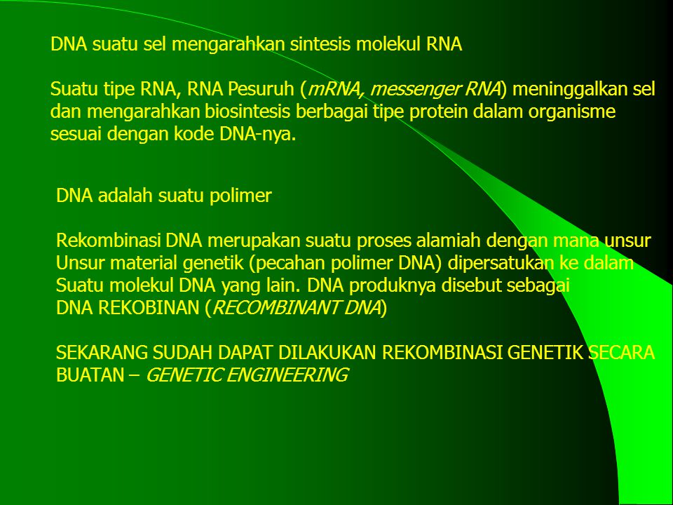DNA suatu sel mengarahkan sintesis molekul RNA