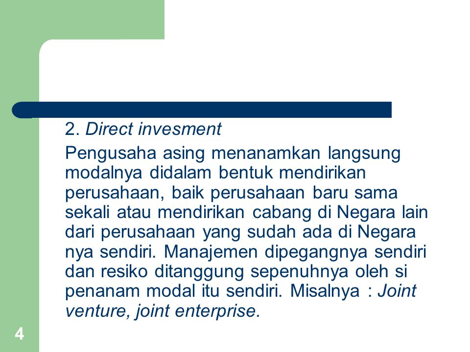 2. Direct invesment