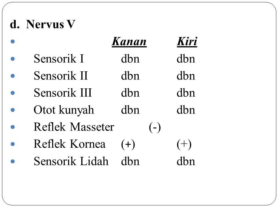 d. Nervus V Kanan Kiri. Sensorik I dbn dbn. Sensorik II dbn dbn. Sensorik III dbn dbn.