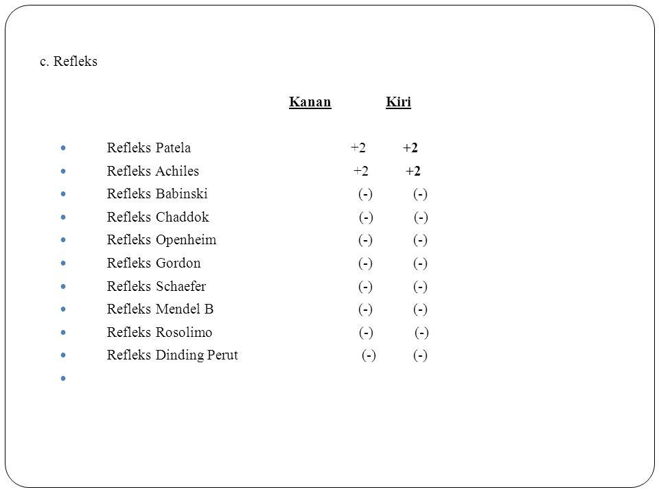 c. Refleks Kanan Kiri. Refleks Patela +2 +2.