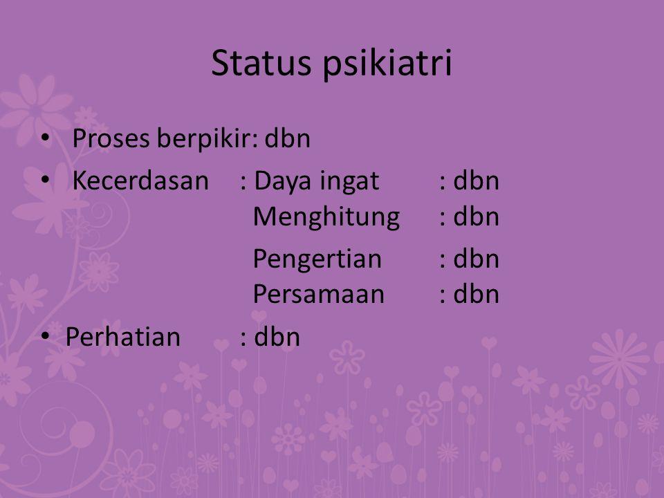 Status psikiatri Proses berpikir: dbn