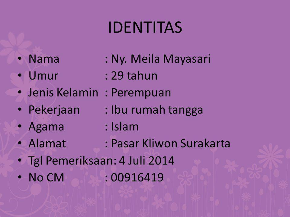IDENTITAS Nama : Ny. Meila Mayasari Umur : 29 tahun