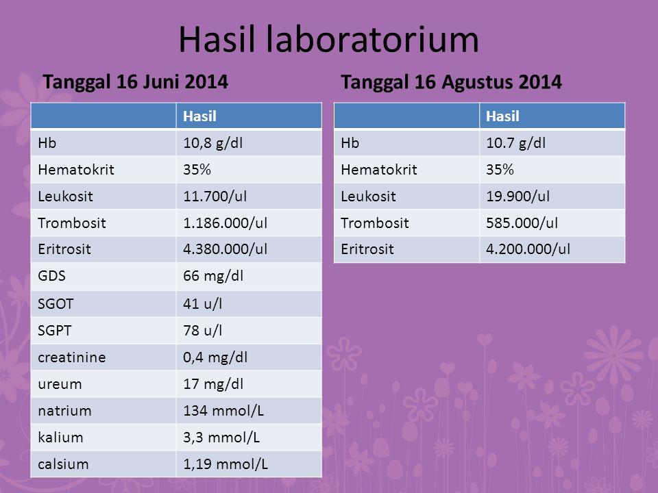 Hasil laboratorium Tanggal 16 Juni 2014 Tanggal 16 Agustus 2014 Hasil