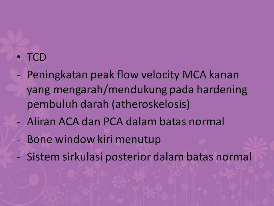 TCD - Peningkatan peak flow velocity MCA kanan yang mengarah/mendukung pada hardening pembuluh darah (atheroskelosis)