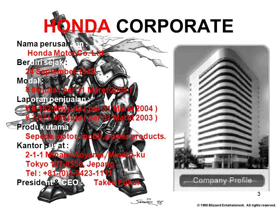 HONDA CORPORATE Nama perusahaan : Honda Motor Co. Ltd. Berdiri sejak :