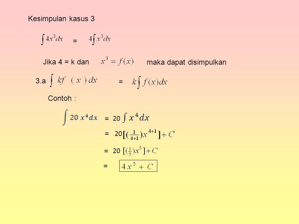 Kesimpulan kasus 3 = Jika 4 = k dan maka dapat disimpulkan 3.a = Contoh : = 20 = 20 = 20 =