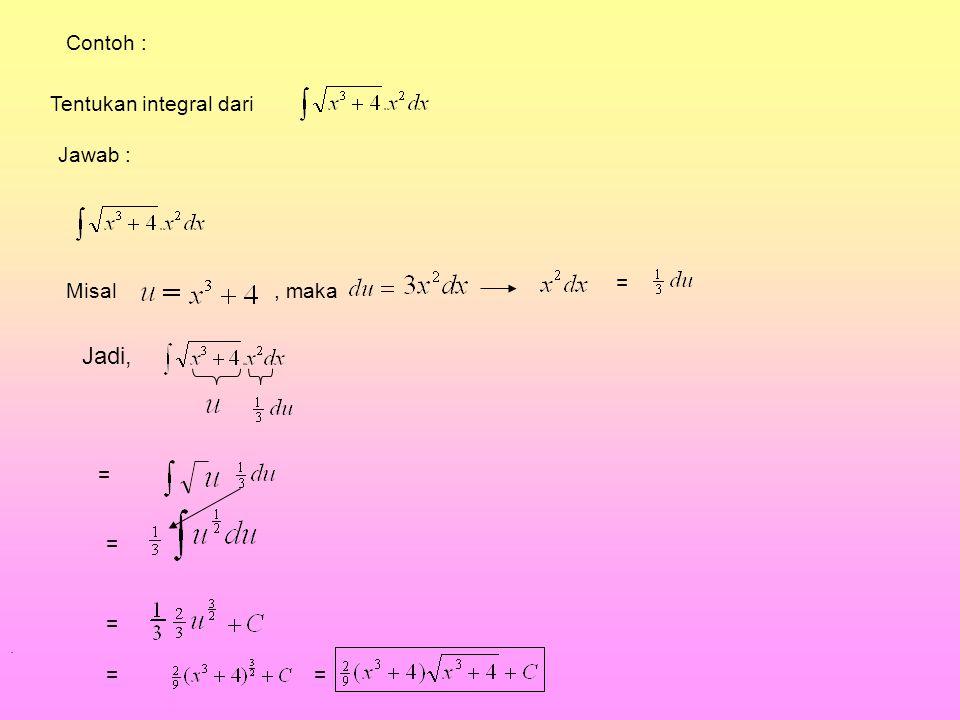Jadi, Contoh : Tentukan integral dari Jawab : = Misal , maka = = = = =