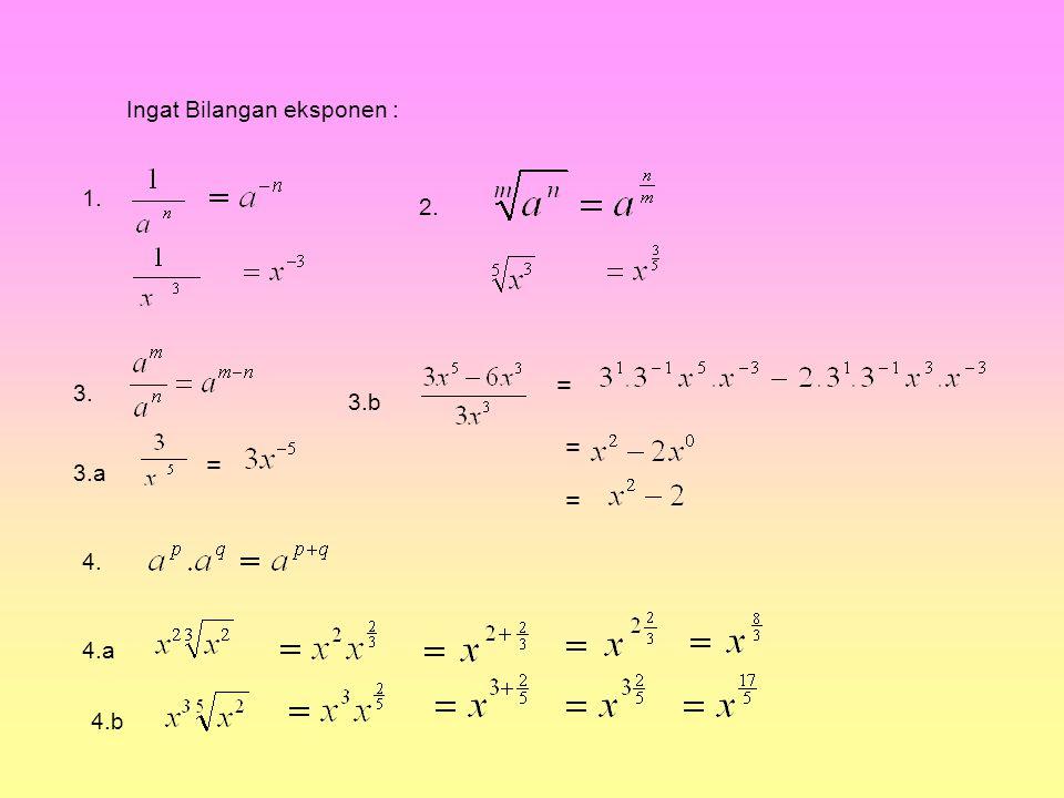 Ingat Bilangan eksponen :