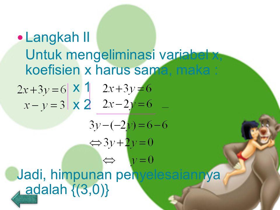 Jadi, himpunan penyelesaiannya adalah {(3,0)}