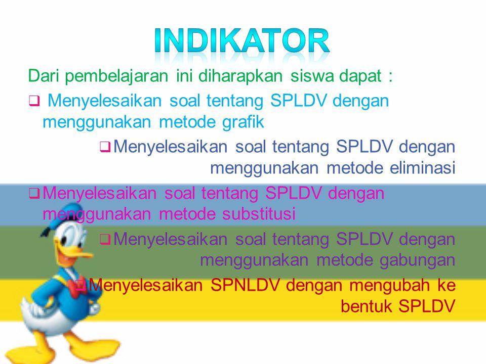 Indikator Dari pembelajaran ini diharapkan siswa dapat :