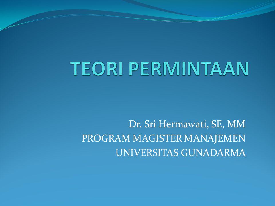 TEORI PERMINTAAN Dr. Sri Hermawati, SE, MM PROGRAM MAGISTER MANAJEMEN