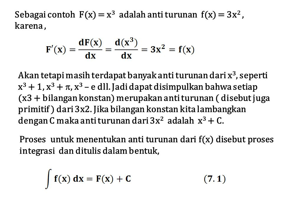 Sebagai contoh F(x) = x3 adalah anti turunan f(x) = 3x2 , karena ,