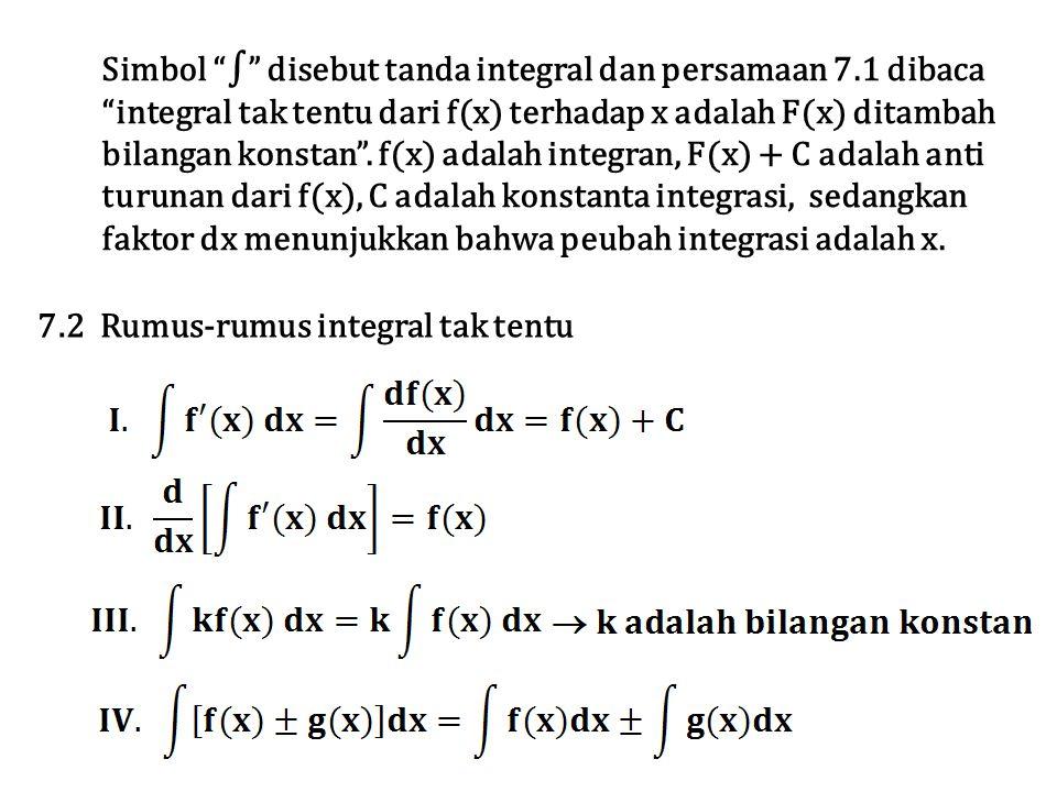 Simbol ∫ disebut tanda integral dan persamaan 7.1 dibaca