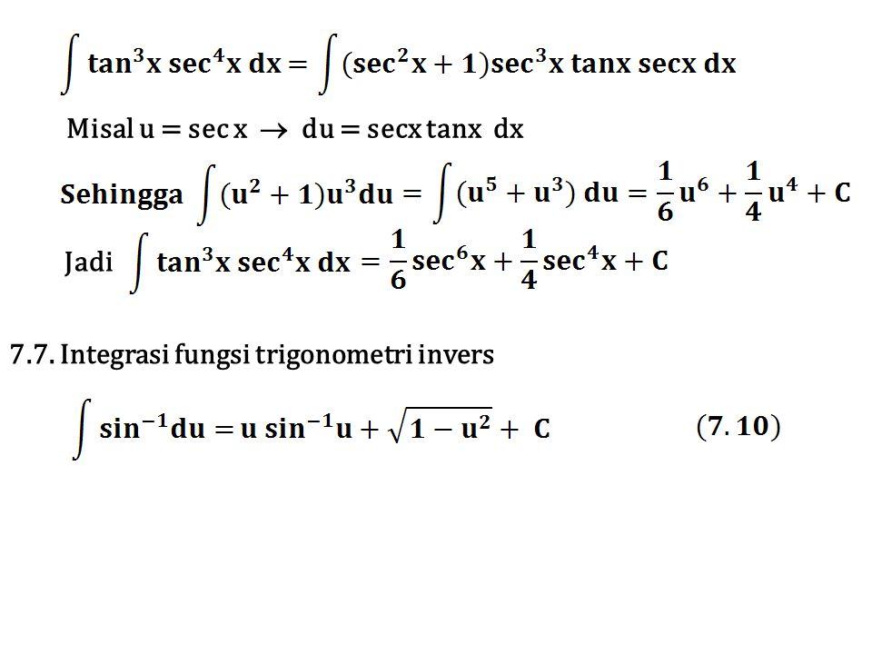 Misal u = sec x  du = secx tanx dx
