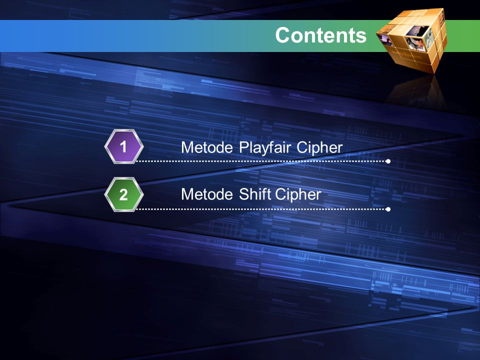 Contents 1 Metode Playfair Cipher 2 Metode Shift Cipher