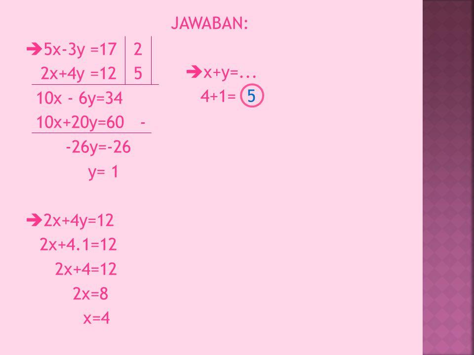 JAWABAN: x+y=... 4+1= 5. 5x-3y =17 2x+4y =12 10x - 6y=34 10x+20y=60 - -26y=-26 y= 1 2x+4y=12 2x+4.1=12 2x+4=12 2x=8 x=4