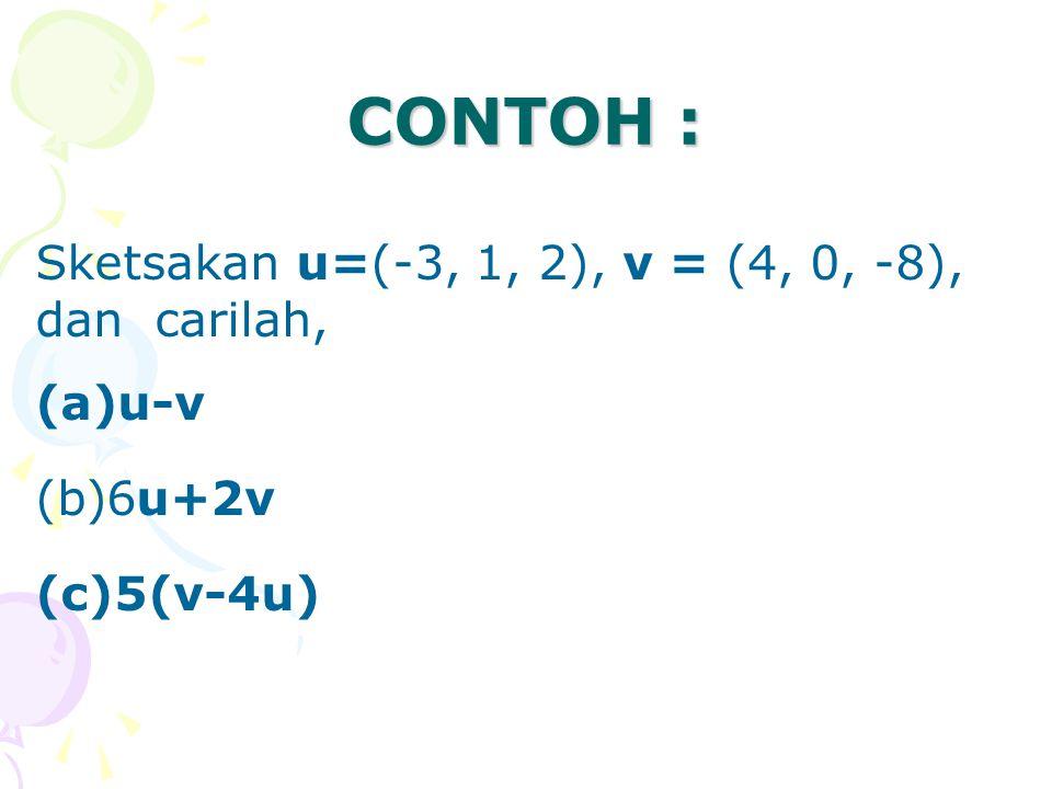CONTOH : Sketsakan u=(-3, 1, 2), v = (4, 0, -8), dan carilah, u-v