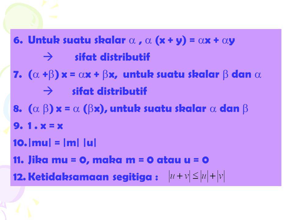 Untuk suatu skalar  ,  (x + y) = x + y  sifat distributif