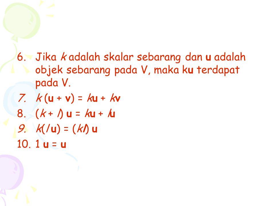 Jika k adalah skalar sebarang dan u adalah objek sebarang pada V, maka ku terdapat pada V.