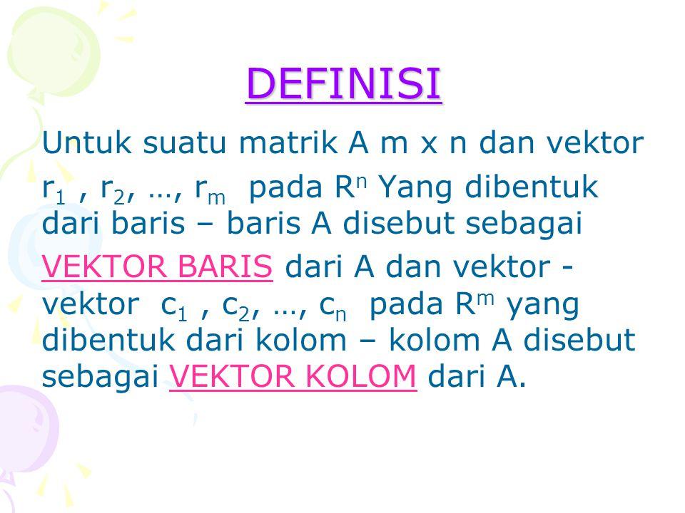 DEFINISI Untuk suatu matrik A m x n dan vektor