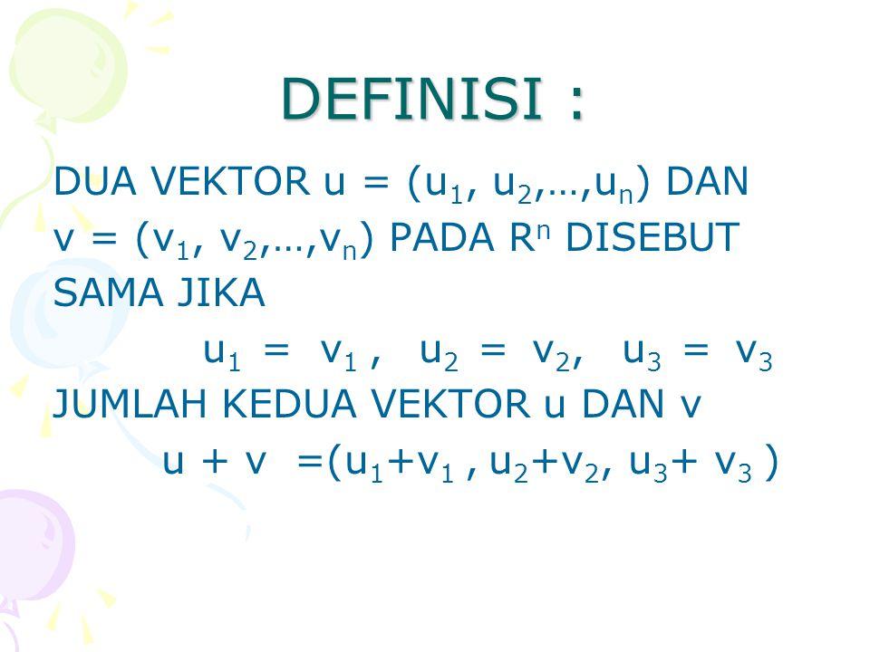 DEFINISI : DUA VEKTOR u = (u1, u2,…,un) DAN