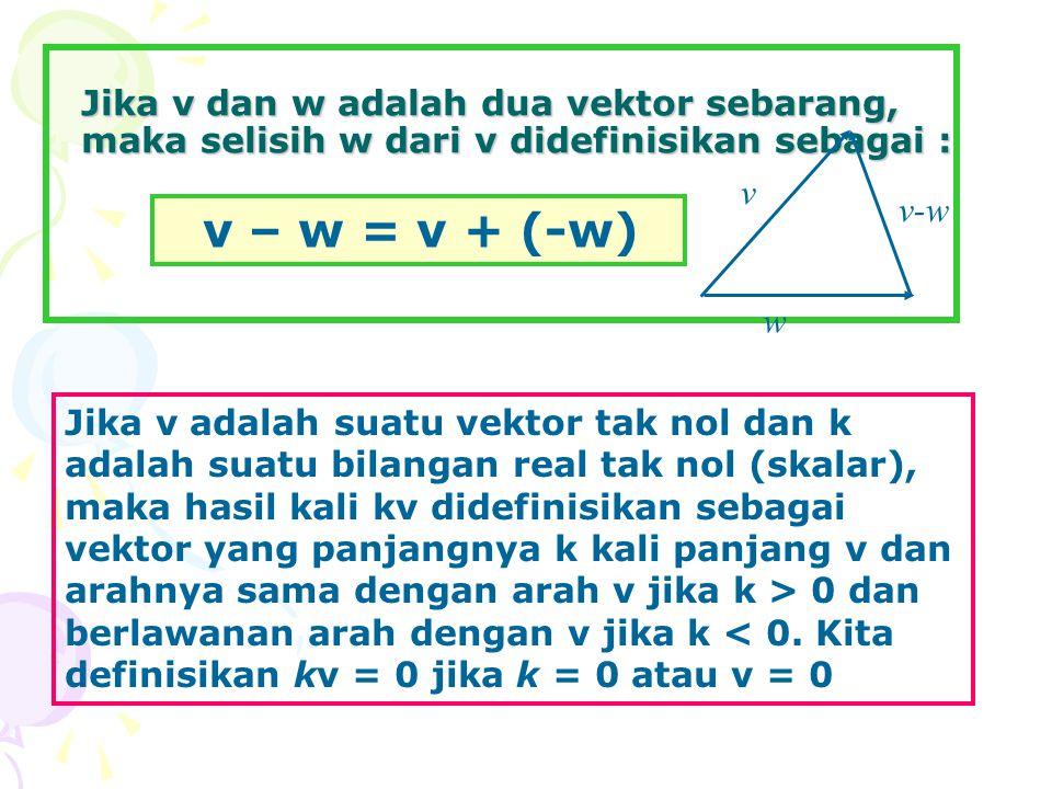 Jika v dan w adalah dua vektor sebarang, maka selisih w dari v didefinisikan sebagai :