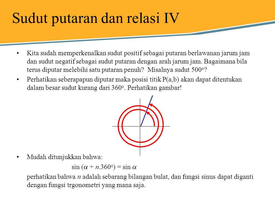 Sudut putaran dan relasi IV