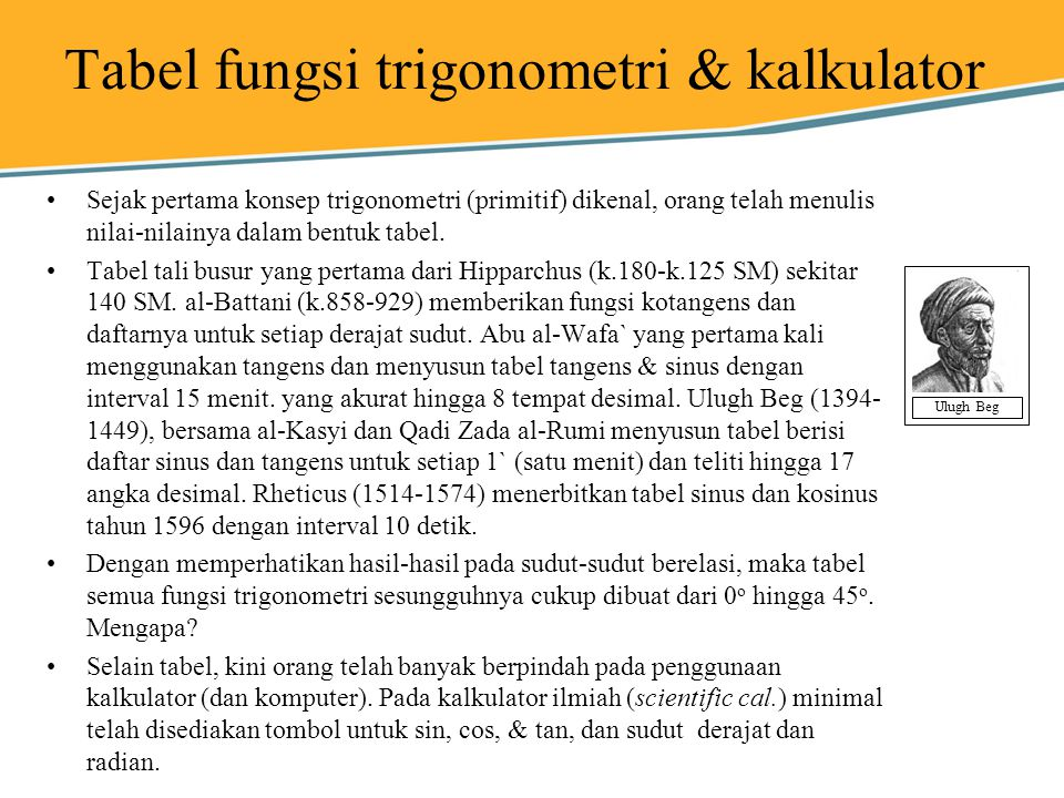 Tabel fungsi trigonometri & kalkulator