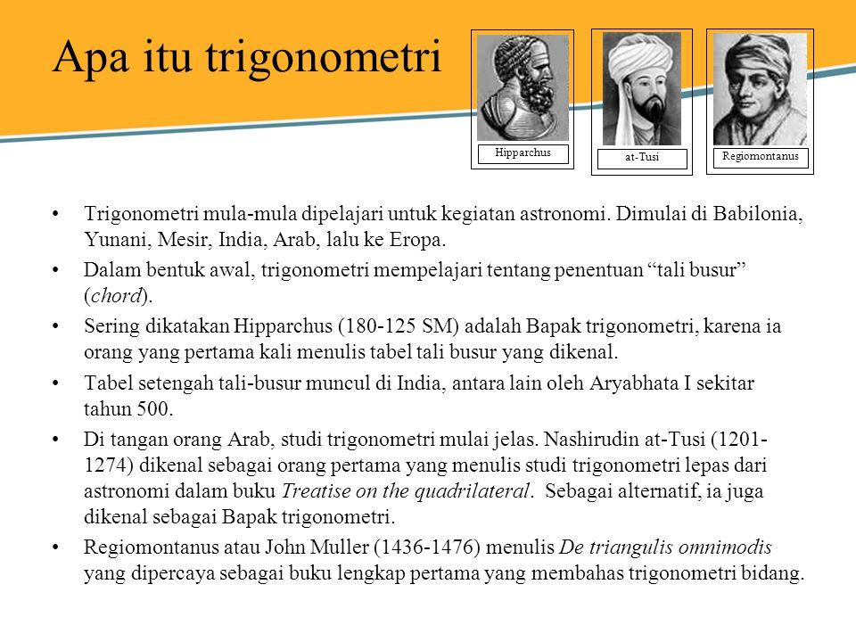 Apa itu trigonometri Hipparchus. at-Tusi. Regiomontanus.