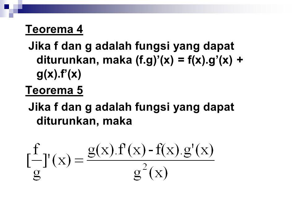 Teorema 4 Jika f dan g adalah fungsi yang dapat diturunkan, maka (f.g)'(x) = f(x).g'(x) + g(x).f'(x)