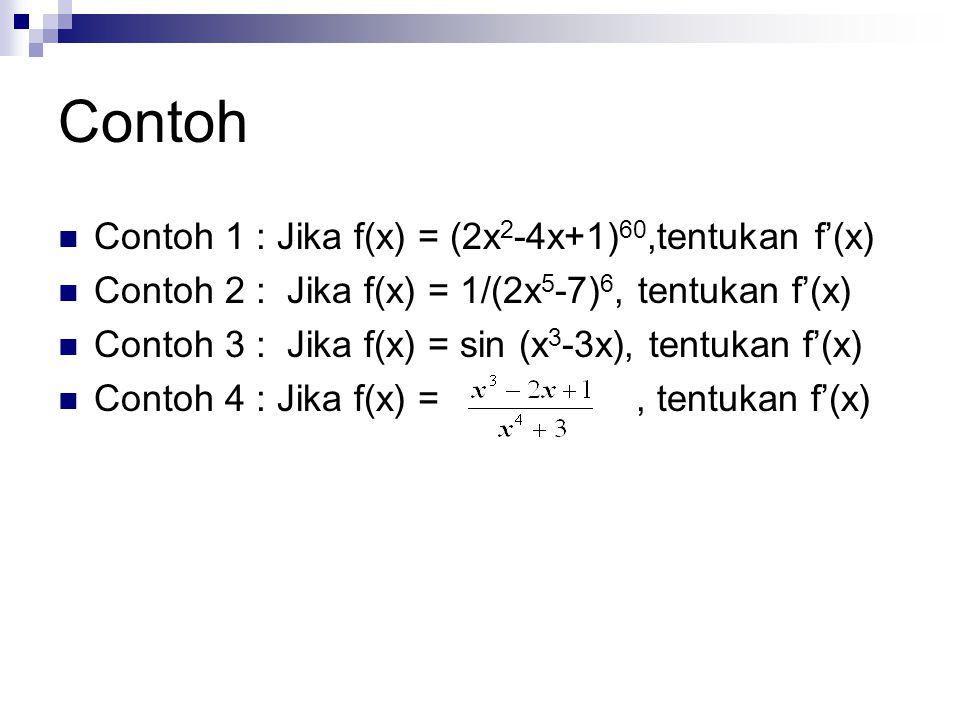Contoh Contoh 1 : Jika f(x) = (2x2-4x+1)60,tentukan f'(x)