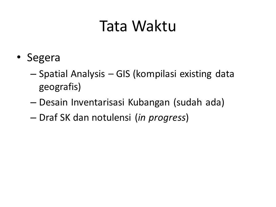 Tata Waktu Segera. Spatial Analysis – GIS (kompilasi existing data geografis) Desain Inventarisasi Kubangan (sudah ada)