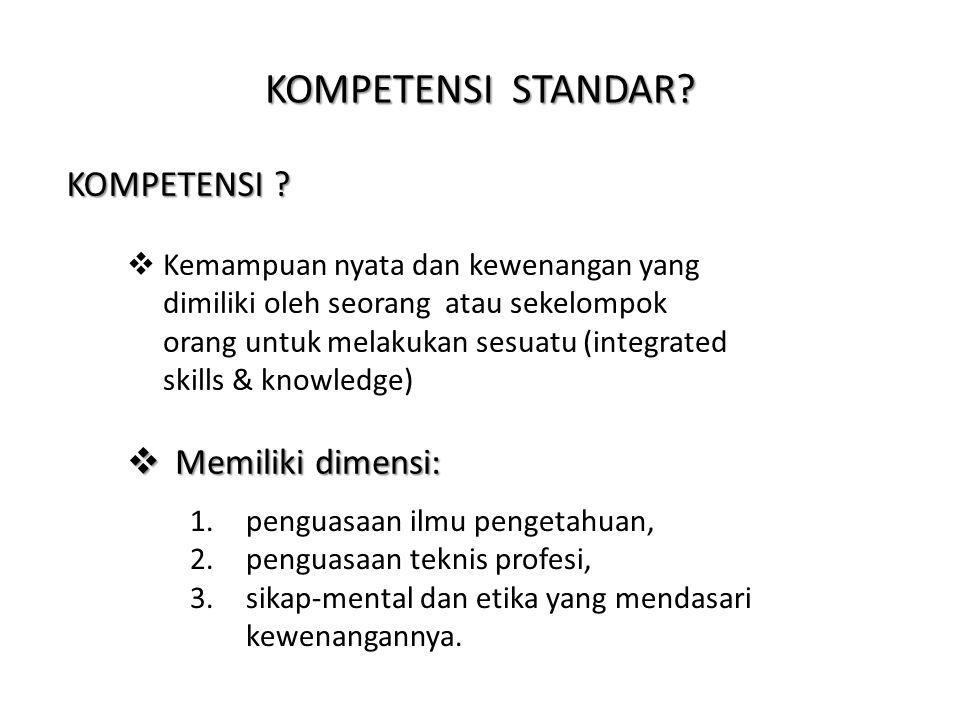 KOMPETENSI STANDAR KOMPETENSI Memiliki dimensi: