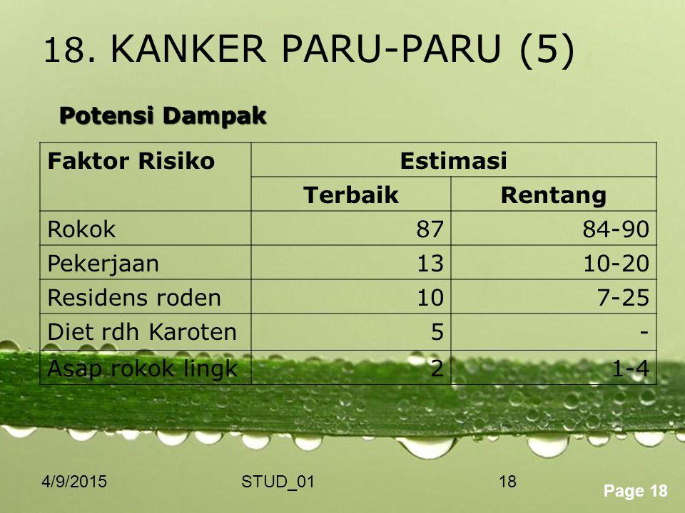 18. KANKER PARU-PARU (5) Potensi Dampak Faktor Risiko Estimasi Terbaik