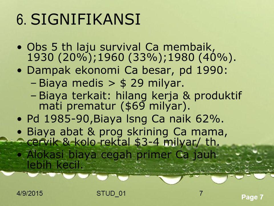 6. SIGNIFIKANSI Obs 5 th laju survival Ca membaik, 1930 (20%);1960 (33%);1980 (40%). Dampak ekonomi Ca besar, pd 1990: