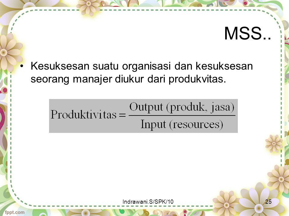 MSS.. Kesuksesan suatu organisasi dan kesuksesan seorang manajer diukur dari produkvitas.
