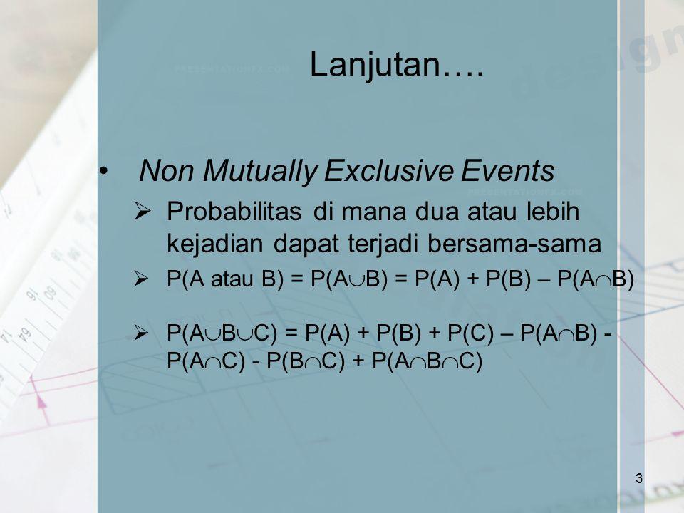 Lanjutan…. Non Mutually Exclusive Events