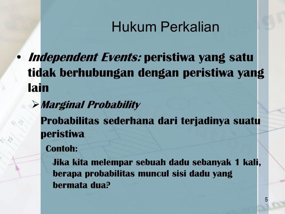 Hukum Perkalian Independent Events: peristiwa yang satu tidak berhubungan dengan peristiwa yang lain.