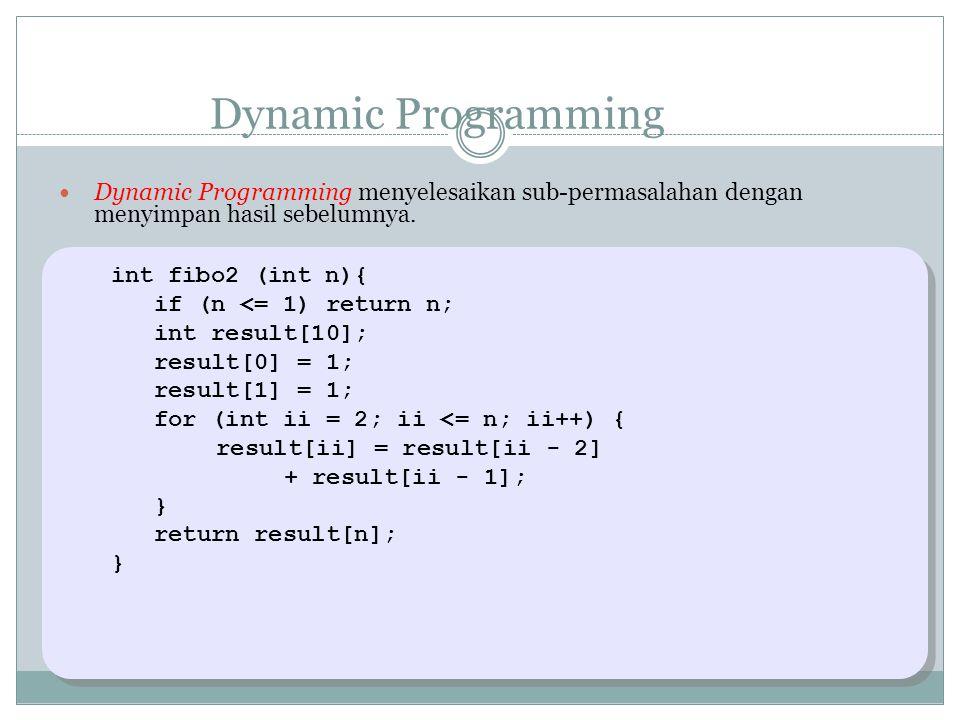 Dynamic Programming Dynamic Programming menyelesaikan sub-permasalahan dengan menyimpan hasil sebelumnya.
