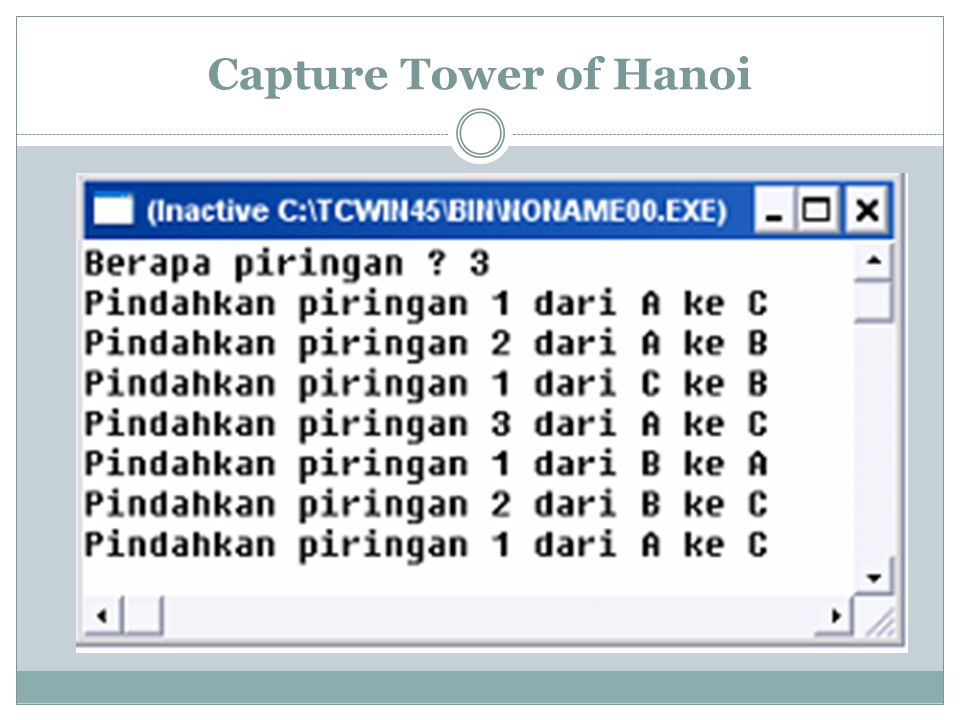 Capture Tower of Hanoi