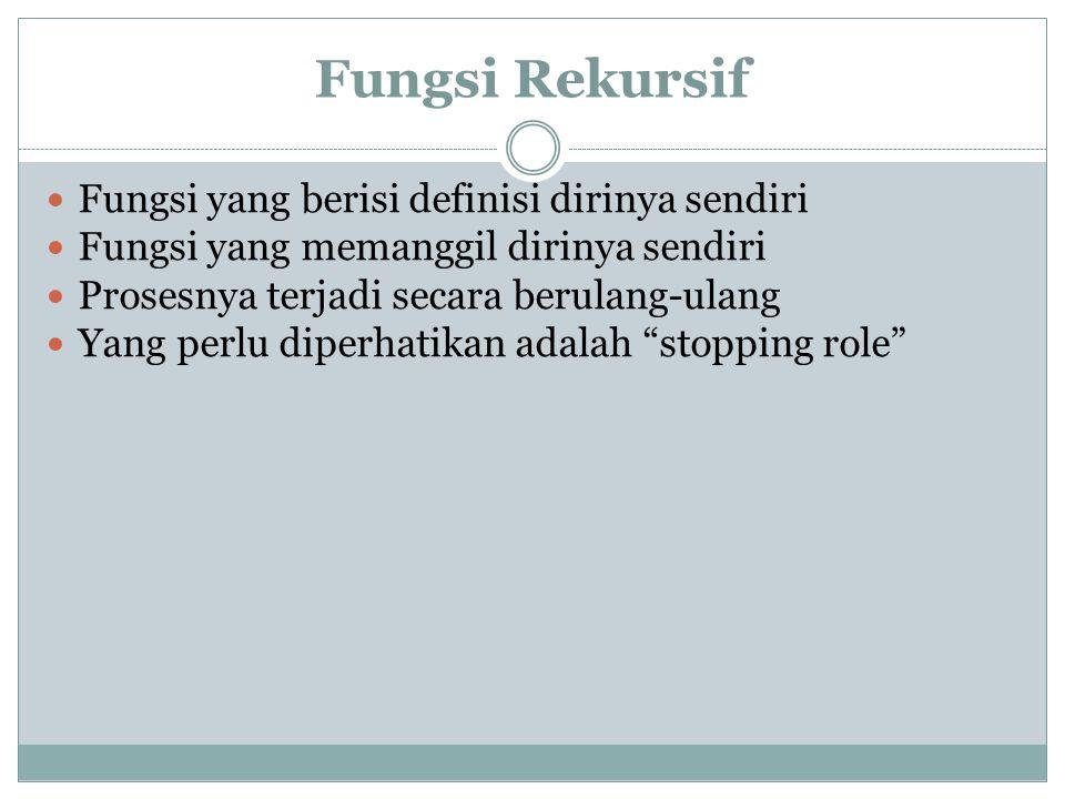 Fungsi Rekursif Fungsi yang berisi definisi dirinya sendiri