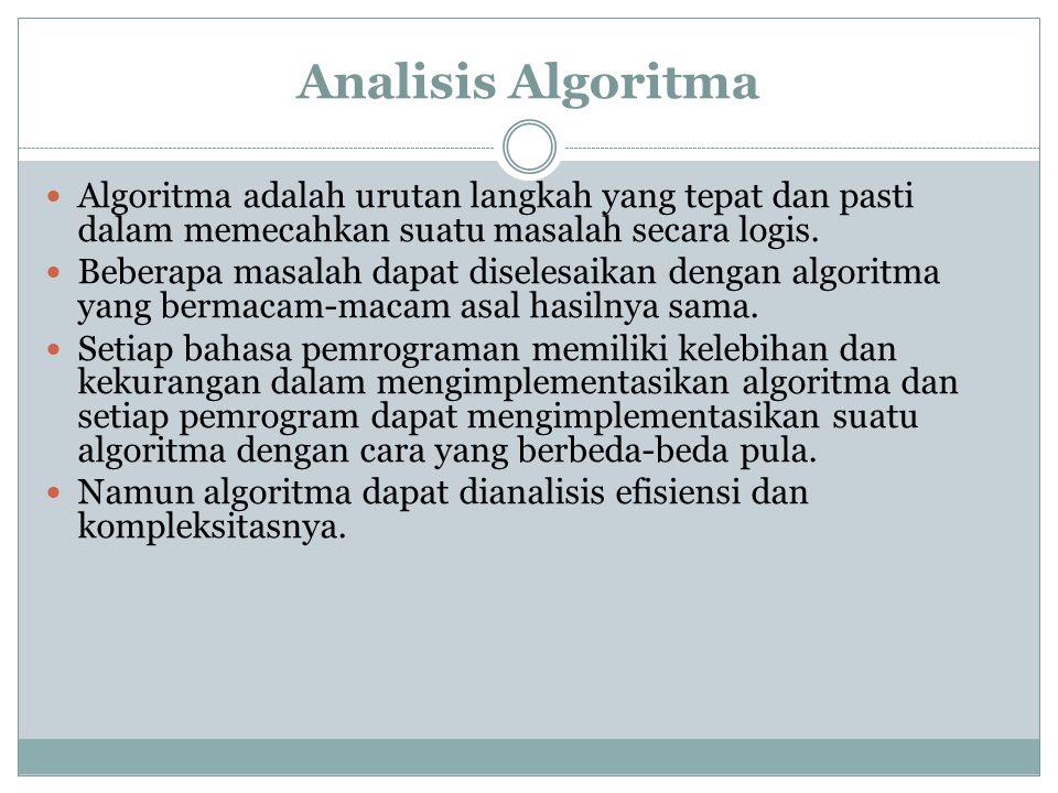 Analisis Algoritma Algoritma adalah urutan langkah yang tepat dan pasti dalam memecahkan suatu masalah secara logis.
