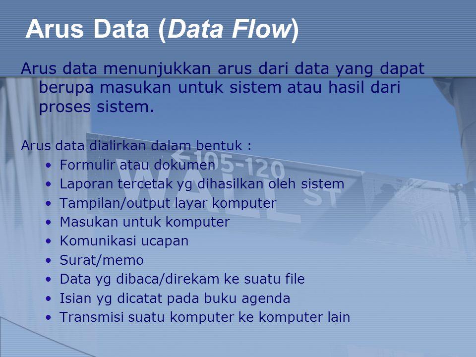 Arus Data (Data Flow) Arus data menunjukkan arus dari data yang dapat berupa masukan untuk sistem atau hasil dari proses sistem.