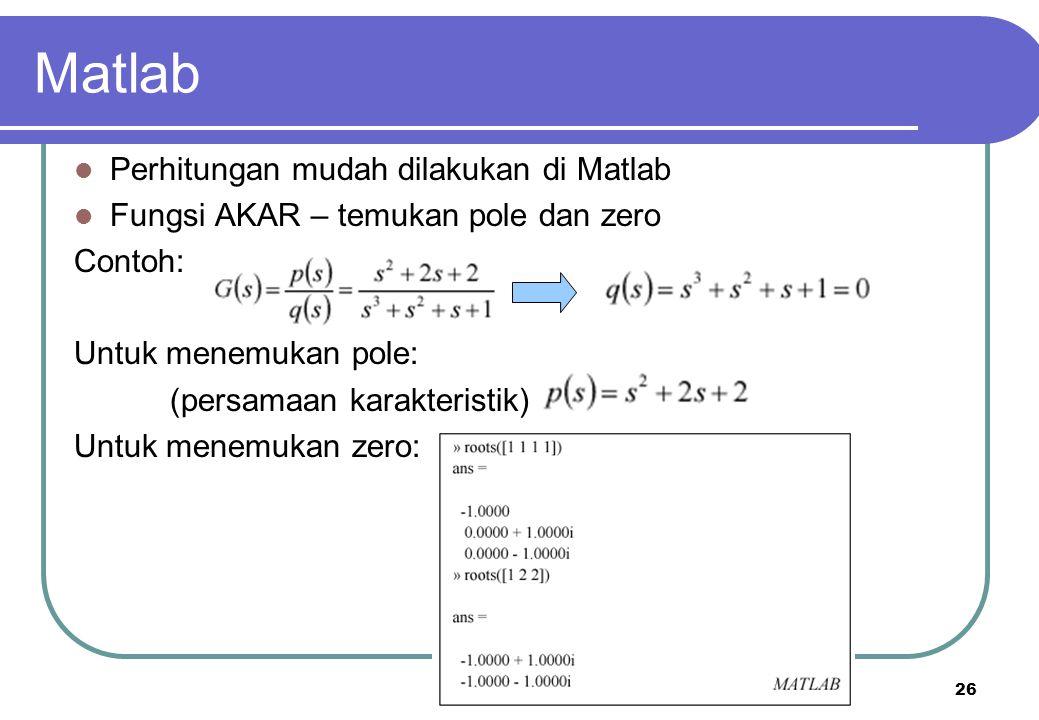 Matlab Perhitungan mudah dilakukan di Matlab