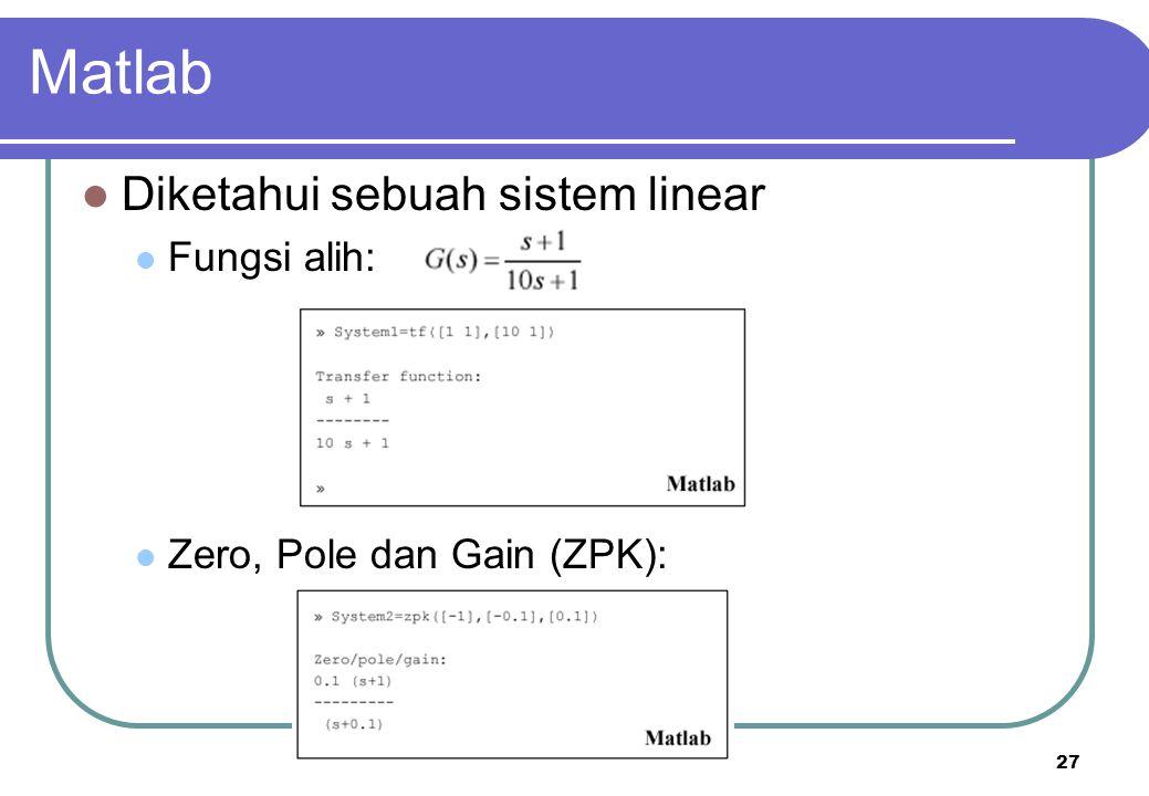 Matlab Diketahui sebuah sistem linear Fungsi alih: