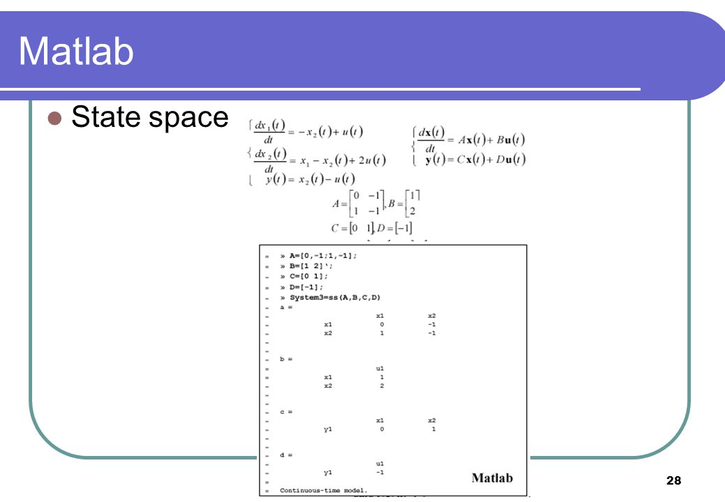 Matlab State space