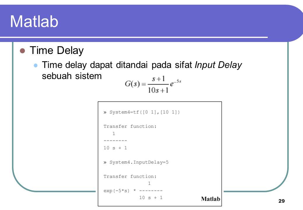 Matlab Time Delay Time delay dapat ditandai pada sifat Input Delay sebuah sistem