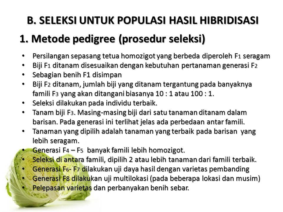 B. SELEKSI UNTUK POPULASI HASIL HIBRIDISASI