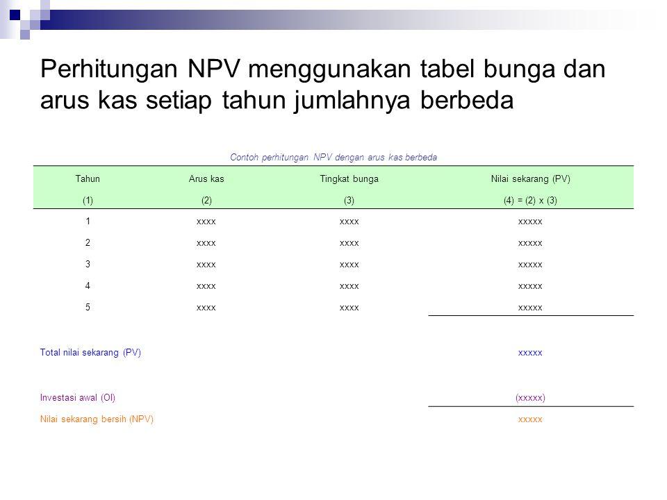 Contoh perhitungan NPV dengan arus kas berbeda